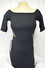 BEBE DRESS BODYCON  BLACK LACE STITCH CUT OUT DETAIL 218122 XS xxS