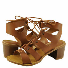 Women's Shoes Bamboo Hanson 16V Caged Lace Up Chunky Heel Sandal Tan *New*