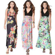 Women Sexy Summer V-neck Sleeveless Floral Maxi Long Dress Beach Club Sundress