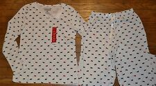 Croft & Barrow 2 Piece Knit Pajama Set Lounge Pants & Long Sleeve Sleep Shirt