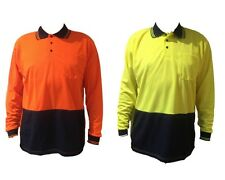 Adults Mens Hi-Vis Safety Workwear T-Shirt Work Wear Long Sleeve Polo Top Lime O