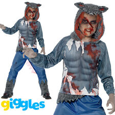 Boys Wolf Warrior Costume Scary Big Bad Evil Halloween Fancy Dress Outfit