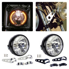 "7"" fit Motorcycle Headlight Amber Turn Signal Indicators With Head Light Bracket"