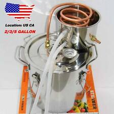 2/3/5/8 Gal Copper Alcohol Moonshine Ethanol Still Spirit Boiler Water Distiller
