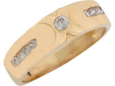10k / 14k Yellow Gold White CZ Sparkling Mens Wedding Band Anniversary Ring