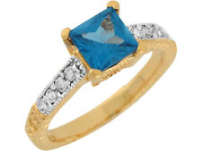 10k / 14k Two Tone Gold Simulated Blue Zircon White CZ Petite Ladies Ring