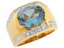 10k / 14k Two Tone Gold Simulated Blue Zircon White CZ Wide Band Ladies Ring