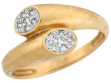 10k / 14k Two Tone Gold Pave Set White CZ Bypass Design Band Ladies Party Ring