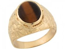 10k / 14k Yellow Gold Synthetic Tigers Eye Handsome Nugget Designer Mens Ring