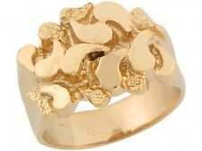 10k / 14k Solid Yellow Gold Intricate Shiny Design Rich Mens Nugget Ring