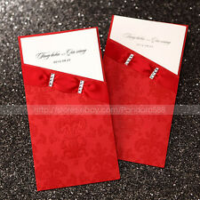 Asian Style Wedding Invitations Cards With Embossed Red Sleeve & Envelopes,Seals