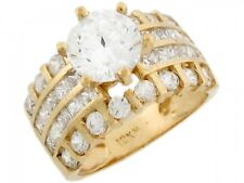 10k / 14k Solid Yellow Gold 3.27ct White CZ Fancy Elegant Engagement Ladies Ring