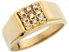 10k / 14k Yellow Gold Mens Square Cluster CZ Ring
