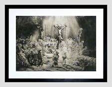 REMBRANDT CHRIST CRUCIFIED BETWEEN THIEVES OLD MASTER FRAMED PRINT B12X1842