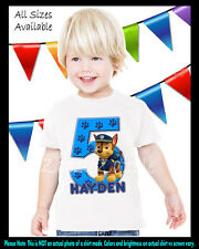 Paw Patrol Chase Inspired Birthday Party Boy Personalized Custom T Shirt NEW