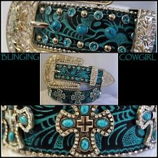 Ladies Black & Turquoise Embossed Leather Belt  Turquoise Cross Concho #Cowgirl