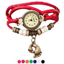 Fashion Weave Around Woman Watch New Quartz Leather Footed Bracelet Wrist Watch