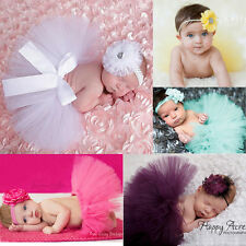 Baby Girl Newborn Pearl Flower Headband Matching Tutu Skirt Set Birthday Dress