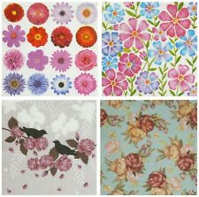 4 x Single Table Paper Napkins For Decoupage & Decopatch - Flowers Roses Floral
