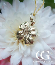 """Fine 9ct Yellow Gold Good Luck Four Leaf Clover Pendant Necklace 16"""" 18"""" 20"""""""