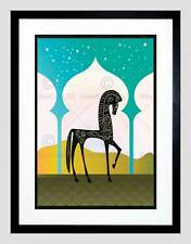 ILLUSTRATION DECORATIVE ARABIAN HORSE COLOUR ARCH FRAMED ART PRINT B12X14009