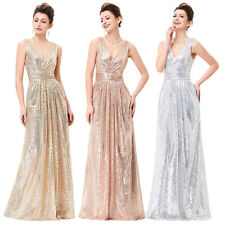 V-Neck Sequined Long Bridesmaids Wedding Evening Prom Party Dress Ball Gown New