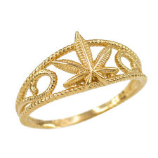 Women's Gold Textured Filigree Medicinal  Weed Marijuana Cannabis Leaf Rope Ring