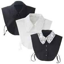 Vintage Women's Fake Lace Shirt Blouse Peter Pan Detachable Collar Tie Necklace