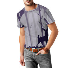 Stag In A Forest Mens Cotton Blend T-Shirt XS - 3XL Sublimation All-Over-Print
