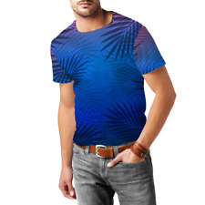 Tropical Night Palm Tree Mens Cotton Blend T-Shirt XS - 3XL Sublimation All-Over