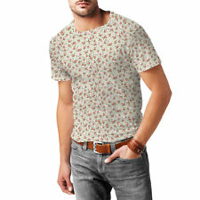 Shabby Chic Roses on Green Mens Cotton Blend T-Shirt XS - 3XL Sublimation All-Ov
