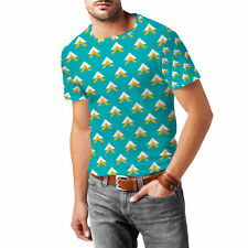 Geometric Abstract Triangles Teal Mens Sport Mesh T-Shirt XS-3XL All-Over-Print