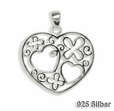 Heart Pendant with 3 Zirconia Jewelry pendant 925 Silver Chain pendant Hearts
