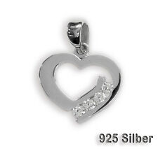 Heart Pendant High gloss with 4 Zirconia Jewelry pendant 925 Silver Heart shaped