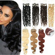 20inch Body Wavy&curly Loop Micro Rings Beads Remy Human Hair Extensions 50g