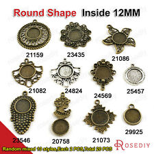 Random mixed style inside:12MM Round Trays Bezels Cameo settings Pendants 20758