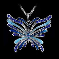 Crystal Huge Butterfly Rhinestone Pendant Sweater Long Chain Necklace Party Gits
