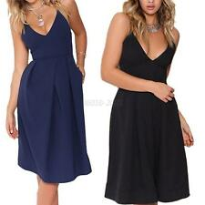Sexy Women's Strap V-Neck Bodycon Solid Dress Party Cocktail A-Line Maxi Dress
