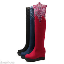 Women's Wedge Heel Platform Shoes Suede Fabric Lace Knee High Boots AU Size O612