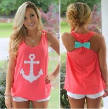 2016 New Fashion Womens Summer Bow Vest Top Blouse Casual Tank Tops T-Shirt