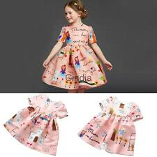Girl Toddler Kids Baby Princess Wedding Party Birthday Pink Dress Casual Dress