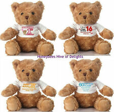 PERSONALISED Age BIRTHDAY Celebration BEAR Gift Idea For Him Her Boys Girls