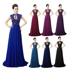 Long Chiffon Applique Mother of the Bride Dress Women Formal Evening Gown Navy