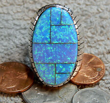 Mens Sterling Silver Navajo Created Opal Inlay Ring  Ray Jack Size 13