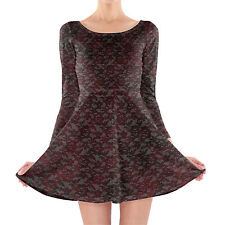 Blood Red Lace Longsleeve Skater Dress XS-3XL All-Over-Print
