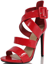 Delicious Tesia Patent Faux Leather Strappy Buckle High Heels