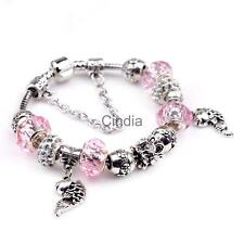 Charm DIY Tibetan Silver European Beads Pink Crystal Beads for Women Bracelet