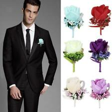 Silk Rose Wedding Boutonniere Groom Brooch Party Prom Clip On Corsage Flower