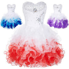 PRINCESS Short Organza Bridesmaid Dress Prom Homecoming Party Evening Gown Ball