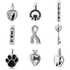 Silver Stainless Steel Memorial Cremation Jewelry Pet Urn Heart Pendant Necklace